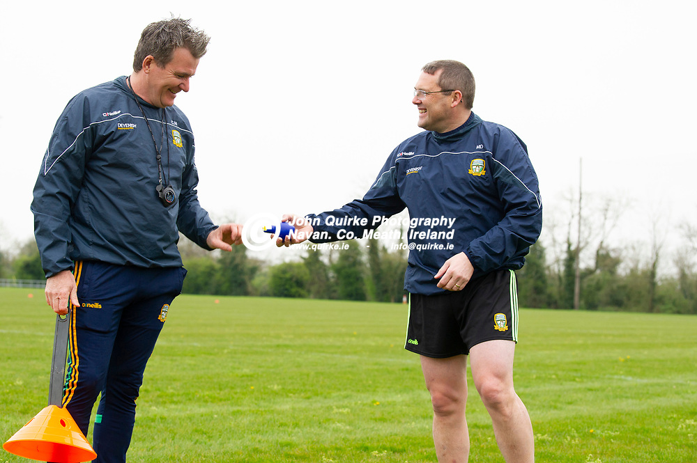 19-04-21. Meath Senior Football players training at Meath GAA Centre of Excellence, Dunganny.<br />Michael Doherty(Right) presenting Colm Nally with a Covod whistle.<br />Photo: John Quirke / www.quirke.ie<br />©John Quirke Photography, 16 Proudstown Road, Navan. Co. Meath. (info@quirke.ie / 046-9028461 / 087-2579454).