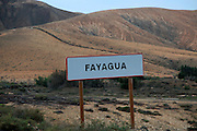 Village sign for Fayagua, between Pajara and La Pared, Fuerteventura, Canary Islands, Spain