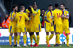 Jeffrey Schlupp of Crystal Palace celebrates with teammates after scoring a goal to make it 1-0 - Mandatory by-line: Robbie Stephenson/JMP - 17/02/2019 - FOOTBALL - The Keepmoat Stadium - Doncaster, England - Doncaster Rovers v Crystal Palace - Emirates FA Cup fifth round proper