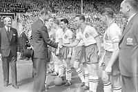 Prince Phillip The Duke of Edinburgh is introduced to Ray Parry (Bolton).  Manchester United v Bolton Wanderers 3/5/58 FA Cup Final 1958 Wembley Credit : Colorsport