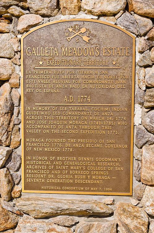 Sign at Galleta Meadows Estate, Borrego Springs, California USA