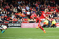 Adam King of Crewe Alexandre shoots and scores his teams 1st goal. Skybet football league 1 match, Crewe Alexandra v Swindon Town at The Alexandra Stadium in Crewe, Cheshire on Saturday 5th September 2015.<br /> pic by Chris Stading, Andrew Orchard sports photography.