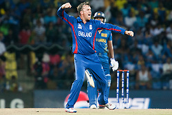 © Licensed to London News Pictures. 01/10/2012. Englishmen Graeme Swann celebrates after getting the wicket of Kumar Sangakkara during the T20 Cricket World super 8's match between England Vs Sri Lanka at the Pallekele International Stadium Cricket Stadium, Pallekele. Photo credit : Asanka Brendon Ratnayake/LNP
