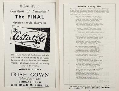 All Ireland Senior Hurling Championship Final,.Brochures,.04.09.1949, 09.04.1949, 4th September 1949, .Tipperary 3-11, Laois 0-3, .Minor Kilkenny v Tipperary, .Senior Tipperary v Laois, .Croke Park, ..Advertisements, Certistyle Irish Gown, ..Songs, Ireland's Hurling Men,