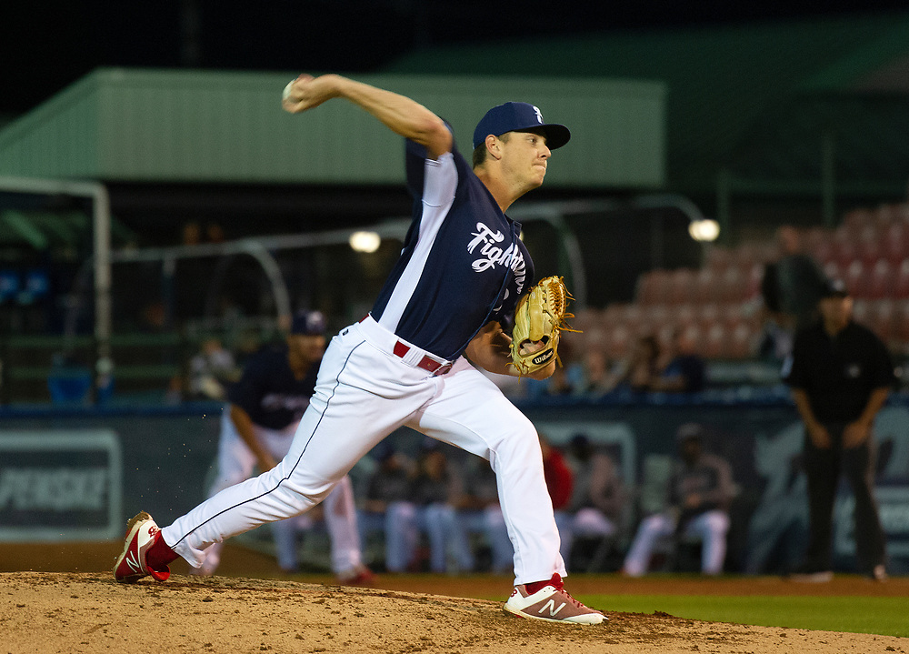 Phillies pitching prospect Spencer Howard starts for the Reading Fightin Phils on Aug. 28, 2019, during a game against the Bowie Baysox at FirstEnergy Stadium in Reading, Pennsylvania.