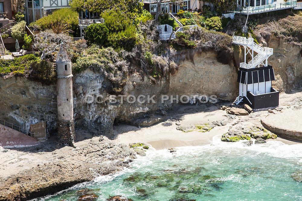 Aerial Stock Photo of Victoria Beach and Tower in Laguna Beach