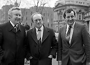 TDs arrive for the opening session of the 23rd Dáil...9-03-82.03-09-1982.9th March 1982..Pictured At Leinster House. ...From left to right:..Sligo-Leitrim Fianna Fáil TD Sean Doherty...Donegal South-West Fianna Fáil TD Pat 'the Cope' Gallagher...Roscommon-Leitrim Fianna Fáil TD John Ellis.