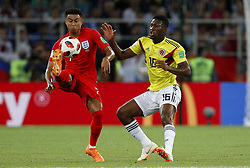 July 3, 2018 - Moscou, Rússia - MOSCOU, MO - 03.07.2018: COLOMBIA VS ENGLAND - Jesse LINGARD of England and Jefferson LERMA of Colombia during the match between Colombia and England, valid for the eighth round of the 2018 World Cup held at the Spartak Stadium in Moscow, Russia. (Credit Image: © Rodolfo Buhrer/Fotoarena via ZUMA Press)