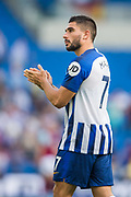 Neal Maupay (Brighton) thanking the Brighton & Hove Albion FC supporters following the Premier League match between Brighton and Hove Albion and Burnley at the American Express Community Stadium, Brighton and Hove, England on 14 September 2019.