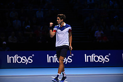 November 14, 2017 - London, England, United Kingdom - Pierre-Hugues Herbert and Nicolas Mahut of France (out of frame) play against USA's Ryan Harrison and New Zealand's Michael Venus during their men's doubles round-robin match on day three of the ATP World Tour Finals tennis tournament at the O2 Arena in London on November 14, 2017. (Credit Image: © Alberto Pezzali/NurPhoto via ZUMA Press)