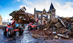 Biggar, Scotland 15th December 2019::  Building the Biggar Hogmanay bonfire in the centre of the town is well underway.  The build started on 1st December and will continue throughout the month.  The fire, which will be the biggest Hogmanay bonfire anywhere in the UK, will be lit at 9.30pm on 31st December.<br /> <br /> (c) Andrew Wilson | Edinburgh Elite media