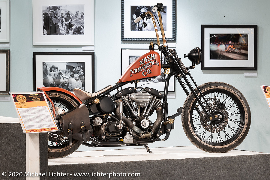 Taber Nash's 1157, custom Harley-Davidson Shovelhead in the Heavy Mettle - Motorcycles and Art with Moxie exhibition at the Sturgis Buffalo Chip. This is the 2020 iteration of the annual Motorcycles as Art series curated and produced by Michael Lichter. Sturgis, SD, USA. Friday, August 7, 2020. Photography ©2020 Michael Lichter.
