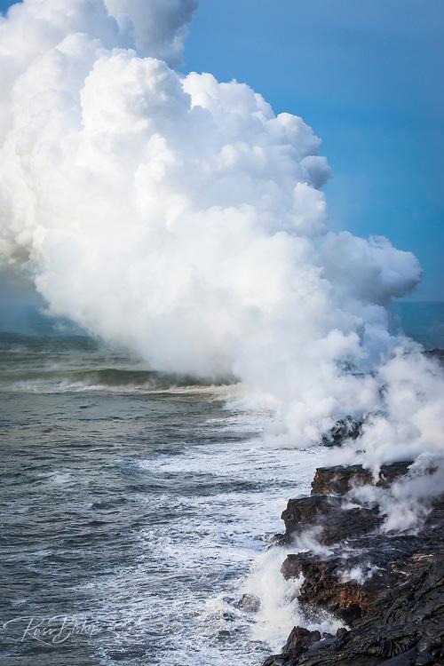 Steam cloud at the Kamokuna lava flow ocean entry, Hawaii Volcanoes National Park, The Big Island, Hawaii USA