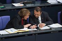 16 MAY 2013, BERLIN/GERMANY:<br /> Sabine Leutheusser Schnarrenberger (L), FDP, Bundesjutizministerin, und Hans-Peter Friedrich (R), CSU, Bundesinnenminister, im Gespraech, Sitzung, Plenum, Deutscher Bundestag<br /> IMAGE: 20130516-01-052<br /> KEYWORDS: Gespräch