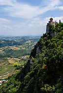 San Marino, a mountainous medieval microstate surrounded by north-central Italy.