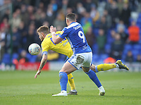 Leeds United's Mateusz Klich battles with  Birmingham City's Che Adams<br /> <br /> Photographer Mick Walker/CameraSport<br /> <br /> The EFL Sky Bet Championship - Birmingham City v Leeds United - Saturday 6th April 2019 - St Andrew's - Birmingham<br /> <br /> World Copyright © 2019 CameraSport. All rights reserved. 43 Linden Ave. Countesthorpe. Leicester. England. LE8 5PG - Tel: +44 (0) 116 277 4147 - admin@camerasport.com - www.camerasport.com