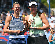 2019 Citi Open runner-up CAMILA GIROGI and champion JESSICA PEGULA pose with their trophies at the Rock Creek Tennis Center.