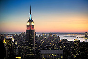The empire State Building seen from the top of the rock observatory New York USA