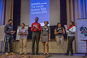 Purchase, NY – 31 October 2014. Port Chester High School's team presenting. (Left to right: Lance Tennyson, Kimberly Chavarria, Samuel Brown, Diamond Turner, Imani Sobmon,  Ziyah House.) The Business Skills Olympics was founded by the African American Men of Westchester, is sponsored and facilitated by Morgan Stanley, and is open to high school teams in Westchester County.