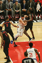December 17, 2018 - Los Angeles, CA, U.S. - LOS ANGELES, CA - DECEMBER 17: Los Angeles Clippers Forward Danilo Gallinari (8) being tied up during the Portland Trail Blazers at Los Angeles Clippers NBA game on December 17, 2018 at Staples Center in Los Angeles, CA.. (Photo by Jevone Moore/Icon Sportswire) (Credit Image: © Jevone Moore/Icon SMI via ZUMA Press)