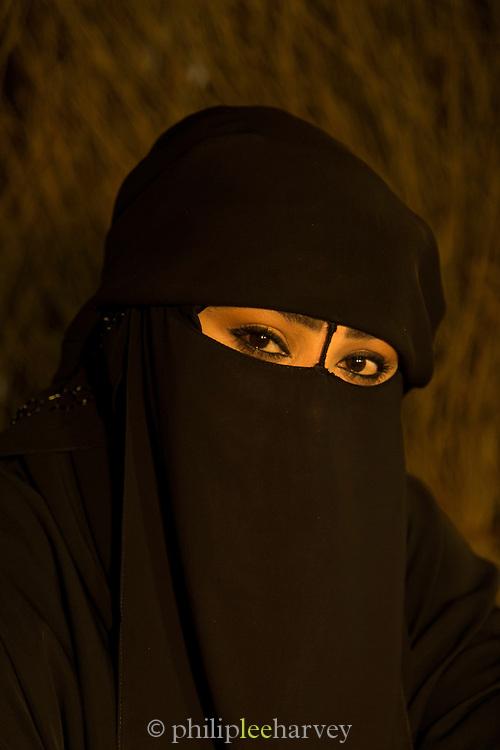 Portrait of a woman in traditional dress, Dubai, United Arab Emirates