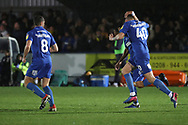 AFC Wimbledon striker Andy Barcham (17) celebrating after scoring goal to make it 1-1 during the EFL Sky Bet League 1 match between AFC Wimbledon and Rochdale at the Cherry Red Records Stadium, Kingston, England on 8 December 2018.