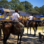 South America, Uruguay, Florida, Mounted Gauchos at a railroad crossing.