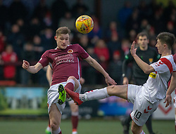 Stenhousemuir's Ruaridh Donaldson and Airdrie's Declan Glass. Stenhousemuir 1 v 0 Airdrie, Scottish Football League Division One played 26/1/2019 at Ochilview Park.