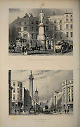 London Statue of King William and The Monument at Fish Street Hill From the book Illustrated London, or a series of views in the British metropolis and its vicinity, engraved by Albert Henry Payne, from original drawings. The historical, topographical and miscellanious notices by Bicknell, W. I; Payne, A. H. (Albert Henry), 1812-1902 Published in London in 1846 by E.T. Brain & Co