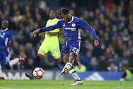 Michy Batshuayi of Chelsea taking a shot at goal. The Emirates FA cup, 3rd round match, Chelsea v Peterborough Utd at Stamford Bridge in London on Sunday 8th January 2017.<br /> pic by John Patrick Fletcher, Andrew Orchard sports photography.