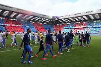 Entree des joueurs  / Supporters Caen / Tifo - 09.05.2015 -  Caen / Lyon  - 36eme journee de Ligue 1<br />