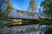 USA, Oregon, Larwood Wayside, the Larwood Bridge in the midst of restoration work, digital composite, hdr.