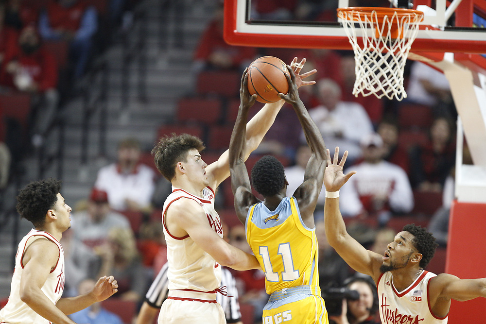 Nebraska Cornhuskers forward Michael Jacobson #12 defends a shot during Nebraska's 81-76 win over Southern at Pinnacle Bank Arena in Lincoln, Neb. on Dec. 20, 2016. Photo by Aaron Babcock, Hail Varsity
