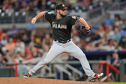 May 18, 2018 - Atlanta, GA, U.S. - ATLANTA, GA Ð MAY 18:  Marlins relief pitcher Kyle Barraclough (46) throws a pitch to the plate during the game between Atlanta and Miami on May 18th, 2018 at SunTrust Park in Atlanta, GA.  The Miami Marlins defeated the Atlanta Braves by a score of 2 Ð 0.  (Photo by Rich von Biberstein/Icon Sportswire) (Credit Image: © Rich Von Biberstein/Icon SMI via ZUMA Press)