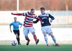 Hamilton's Grant Gillespie and Falkirk's Jay Fulton.<br /> half time : Falkirk 0 v 0 Hamilton, Scottish Championship game at The Falkirk Stadium. © Michael Schofield 2014.