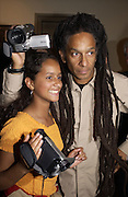 Don Letts and Amber Letts. Paul Simonon exhibition at Hazlitt Gooden and Fox Gallery and afterwards at the Ivy. 24 September 2002 © Copyright Photograph by Dafydd Jones 66 Stockwell Park Rd. London SW9 0DA Tel 020 7733 0108 www.dafjones.com