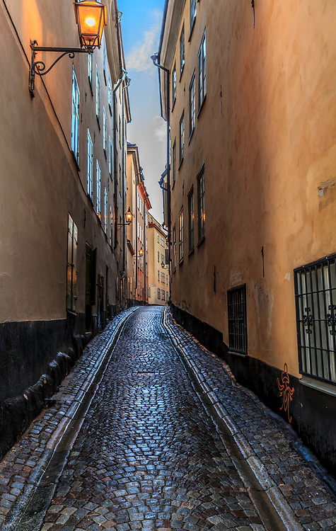 An alley in Gamla stan, the old town of Stockholm, Sweden.