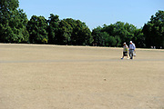 A couple walk in Hyde Park London, the grass totally parched and dry from the long summer of much su and little rain.