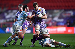 Jonny Hill of Exeter Chiefs is challenged by Dominic Bird of Racing 92 - Mandatory by-line: Ryan Hiscott/JMP - 17/10/2020 - RUGBY - Ashton Gate Stadium - Bristol, England - Exeter Chiefs v Racing 92 - Heineken Champions Cup Final
