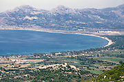 Landscape coastal view around the bay and countryside Calvi, Corsica, France in late 1950s