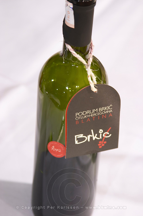 Bottle of Podrum Brkic Citluk Blatina with trendy label. At the rooftop restaurant Biosphere. Historic town of Mostar. Federation Bosne i Hercegovine. Bosnia Herzegovina, Europe.