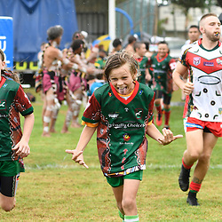BRISBANE, AUSTRALIA - MARCH 19: Wynnum Manly and Tweed Heads Seagulls players walk out during the Round 3 QRL Intrust Super Cup match between Wynnum Manly and Tweed Heads Seagulls at Ron Stark Oval on March 18, 2017 in Brisbane, Australia. (Photo by Patrick Kearney/Wynnum Manly Seagulls)
