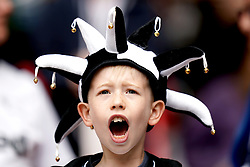 A young Derby County fan in the stands shows his support prior to the Sky Bet Championship Play-off final at Wembley Stadium, London.