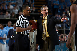 CHAPEL HILL, NC - FEBRUARY 15: Head coach Jeff Bzdelik of the Wake Forest Demon Deacons disputes a call while official Michael Stephens while playing the North Carolina Tar Heels at the Dean E. Smith Center in Chapel Hill, North Carolina. North Carolina won 64-78. (Photo by Peyton Williams/UNC/Getty Images) *** Local Caption *** Jeff Bzdelik;Michael Stephens