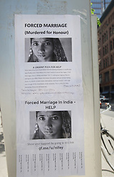 June 10, 2017 - Toronto, ONTARIO, Canada - Poster calling for a plea for help to alleviate issues in South Asia such as forced marriage, child marriage, honour killings, and rape. These posters have sprung up in downtown Toronto, Ontario, Canada, on June 10, 2017. (Credit Image: © Creative Touch Imaging Ltd/NurPhoto via ZUMA Press)