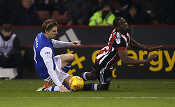 Glenn Loovens of Sheffield Wednesday fouls Clayton Donaldson of Sheffield United and receives a second yellow and red card - Mandatory by-line: Robbie Stephenson/JMP - 12/01/2018 - FOOTBALL - Bramall Lane - Sheffield, England - Sheffield United v Sheffield Wednesday - Sky Bet Championship
