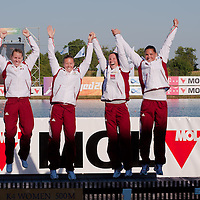 Gabriella Szabo, Danuta Kozak, Dalma Benedek and Katalin Kovacs (left to right) from Hungary celebrate their victory during the K4 women Kayak 500m final A of the 2011 ICF World Canoe Sprint Championships held in Szeged, Hungary on August 19, 2011. ATTILA VOLGYI
