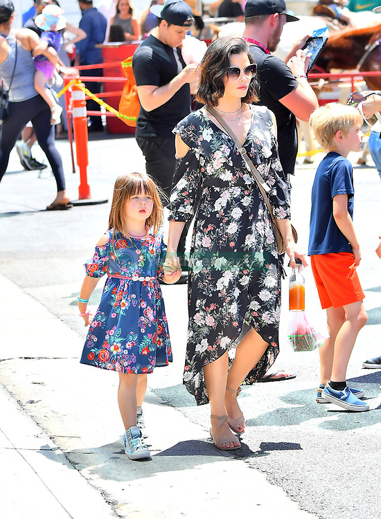 Jenna Dewan was all smiles with daughter Everly while visiting the Farmer's Market in Studio City, CA. The newly single Jenna recently filed for divorce from Channing Tatum, was in good spirits as she shopped and enjoyed all the children's activities with her daughter. ***SPECIAL INSTRUCTIONS*** Please pixelate children's faces before publication.***. 22 Apr 2018 Pictured: Jenna Dewan was all smiles with daughter Everly while visiting the Farmer's Market in Studio City, CA. The newly single mother who recently filed for divorce from Channing Tatum, was in good spirits as she shopped and enjoyed all the children's activities with her daughter. Photo credit: Marksman / MEGA TheMegaAgency.com +1 888 505 6342