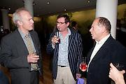 MARTIN ROWSON; TIM BENSON; ANDREW EDMUNDS, Opening of Rude Britannia. Tate Britain. Millbank. London. 7 June 2010. -DO NOT ARCHIVE-© Copyright Photograph by Dafydd Jones. 248 Clapham Rd. London SW9 0PZ. Tel 0207 820 0771. www.dafjones.com.