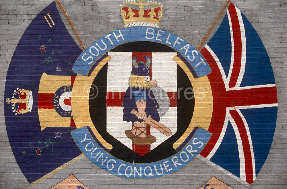 A loyalist wall mural in a protestant area of Belfast showing a Viking as conquering hero by the Ulster Volunteer Force (UVF) of south Belfast.